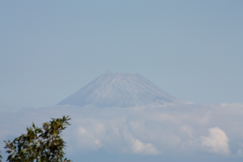The great Fuji emerges from the clouds