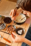 Cookie decorating with chopsticks